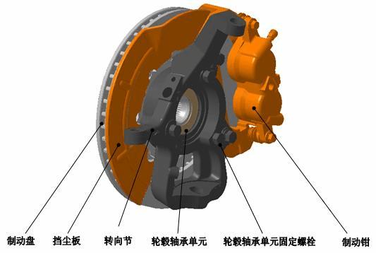 本车前制动器为浮钳盘式制动器,双油缸结构,液压操纵.图片