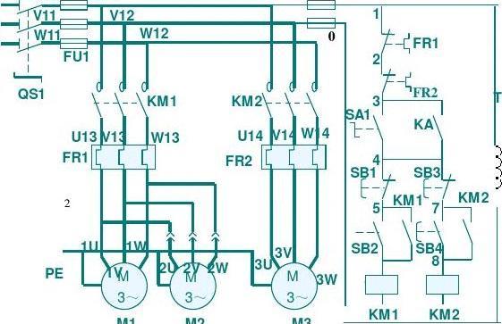 m7130平面磨床电路图 电源开关及保护 砂轮电动机 冷却泵电动机 液压图片