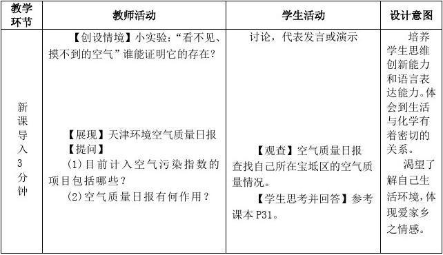 [K12学习]九年级化学上册 第二单元 课题1《空气》教学设计 (新版)新人教版