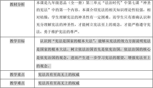 初三政治《神圣的宪法》整册教案