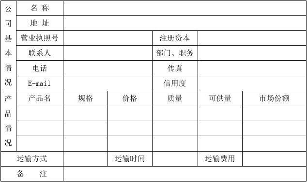 供应商管理表格