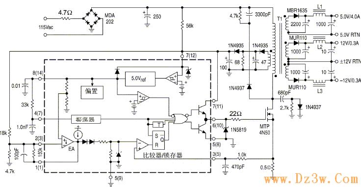 uc3844 38445  27w离线反激稳压器电路图图片