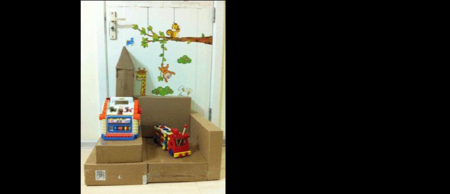 父母邦【晒手工】+宝宝和爸爸做的纸箱沙发和滑梯
