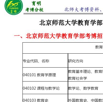 北京师范大学学前教育学考博参考书解析-育明考博