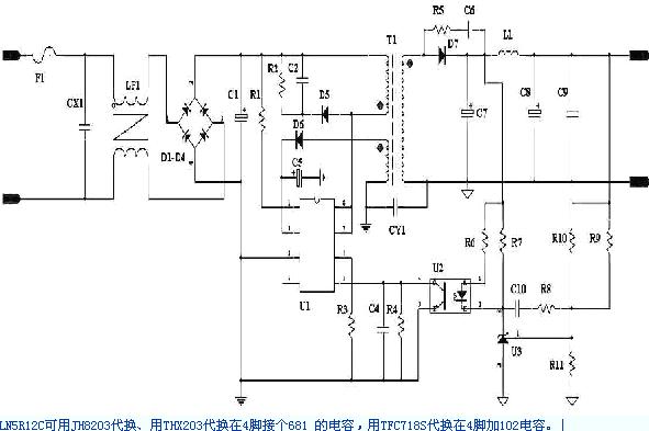 LN5R12C引脚功能JH8203 THX203 TFC718S