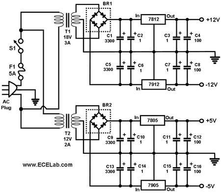 正负12V,5V电源电路图