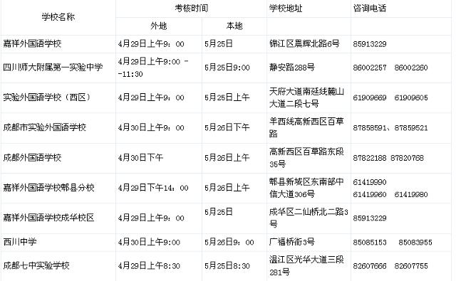 2013成都小升初最新考试时间