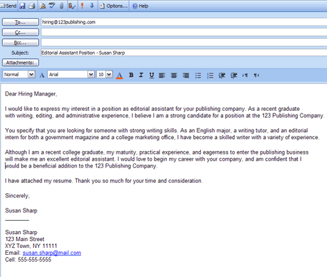 Cover Letter (Email) Example 英文版