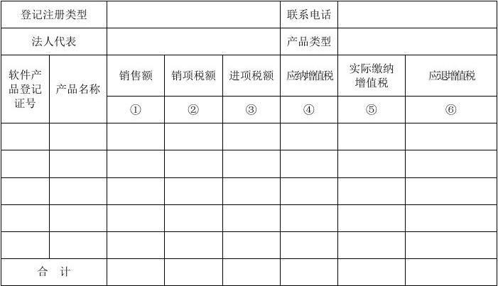 深圳市纯软件产品增值税即征即退申请审核表