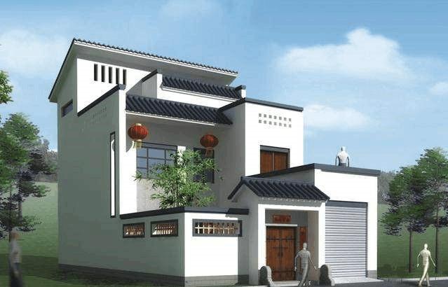 3层带露台庭院的新中式自建房,带平面图纸和3d模型图片