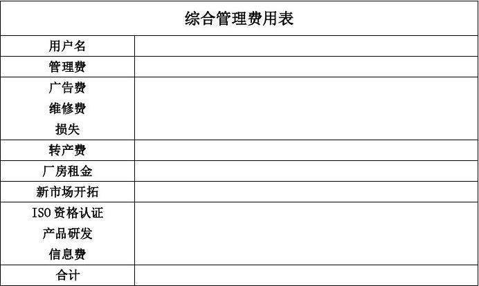 综合管理费用表