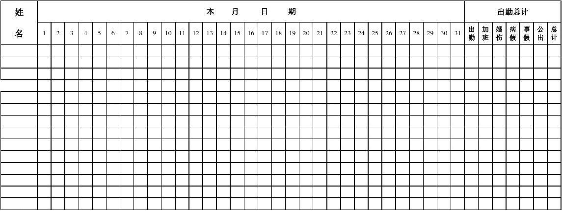 月职工考勤表(模板)