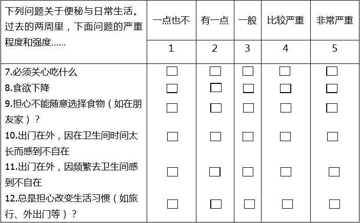 便秘患者生存质量量表(PAC-QOL)中文版