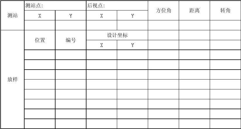 全站仪原始测量记录表