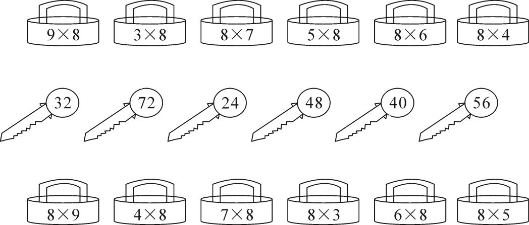 第4课时9的乘法口诀(教材例4,p80)一,连线.图片
