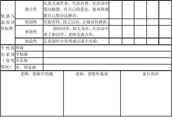 双沟镇中心小学学生综合素质评价表