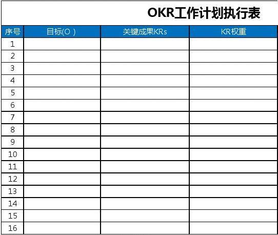 【模板工具】OKR绩效考核表