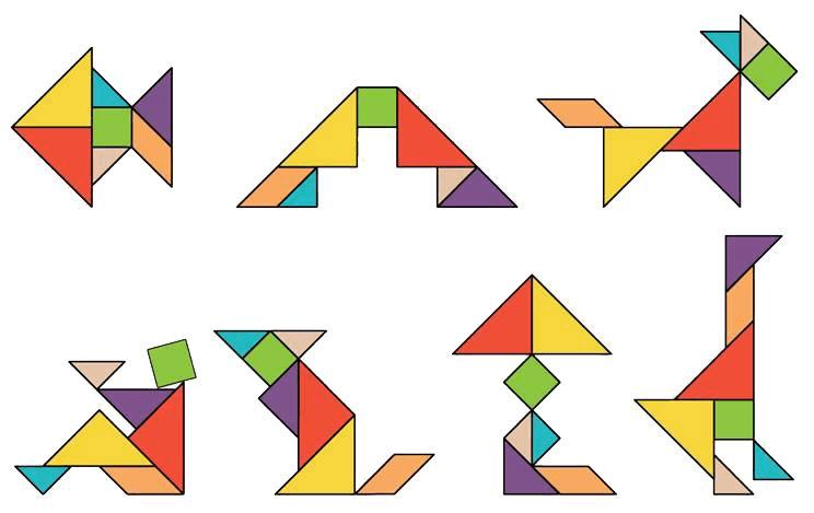 教学重点:引导学生利用七巧板拼出不同形状的图案.图片