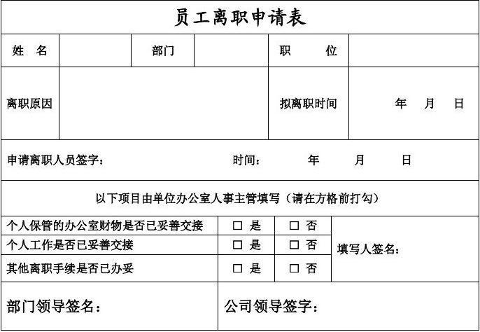员工离职申请表(模板)