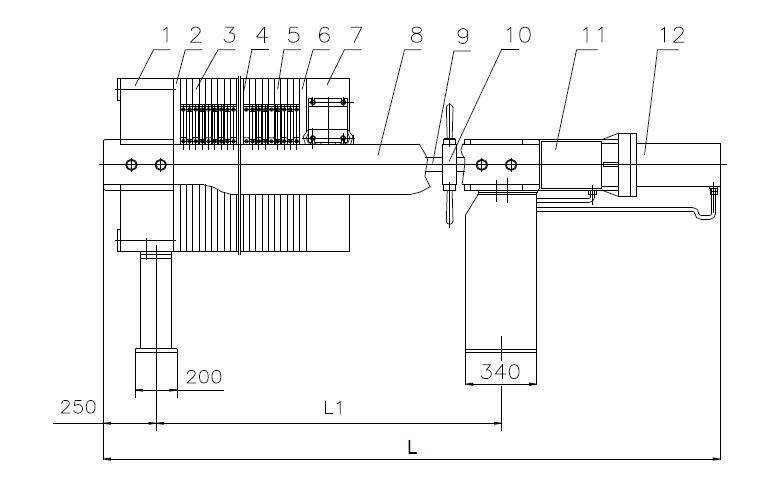 板框压滤机的特点是液压泵站,电机和电器控制箱分别装在油缸座和油箱图片