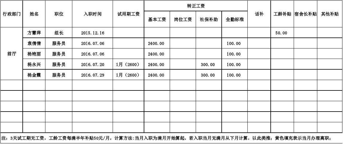 工资标准表2016.07图片