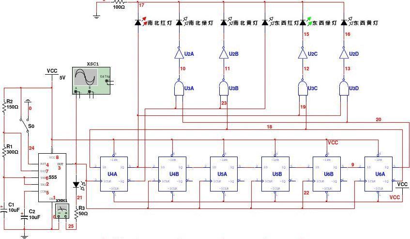 数电实验交通灯控制电路仿真实验电路图图片