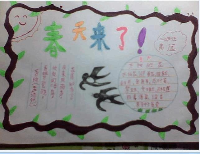小学二年级春天题材的手抄报.