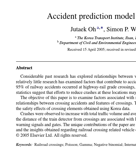 Accident prediction model for railway-highway interfaces