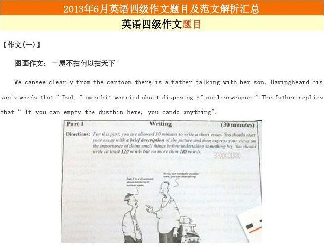 2013年6月英语四级作文题目及范文解析汇总