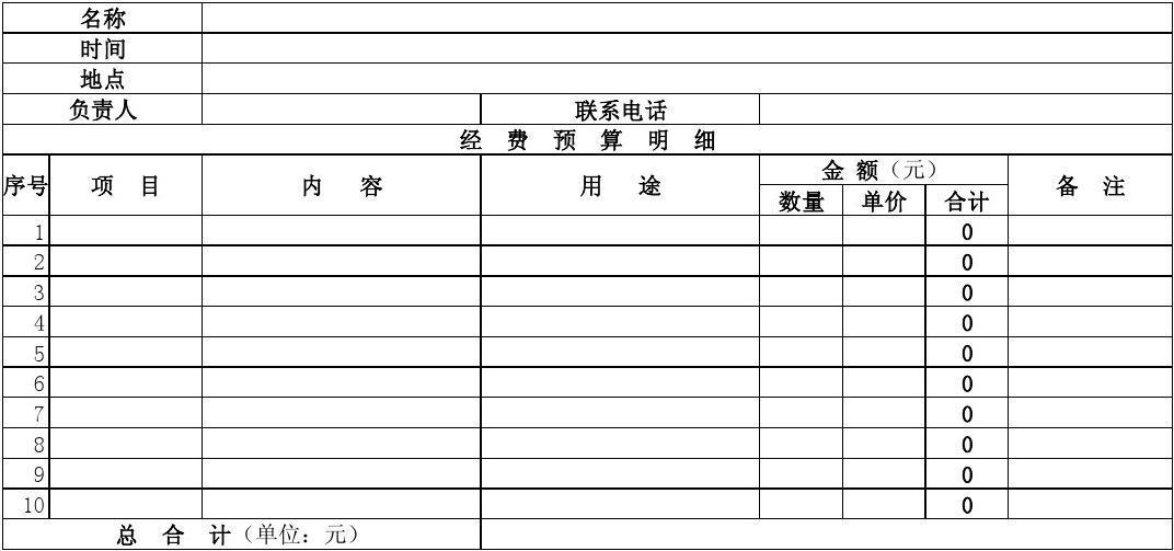 高校各种活动预算表模板