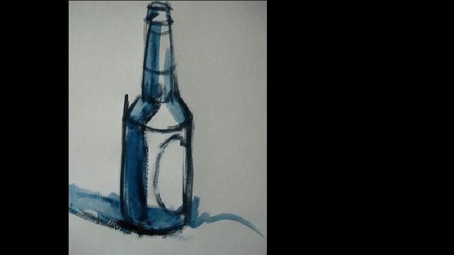 绘画啤酒瓶的水粉导出步骤图文proe调色cad图步凑图片