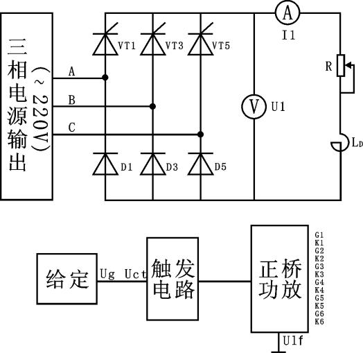 第八节 三相桥式半控整流电路实训图片