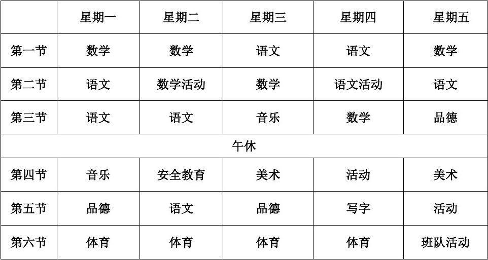 小学课程表(最新)