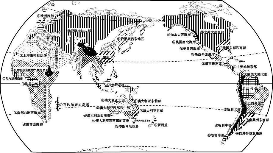 2 气压带和风带 导学案3 世界气候类型附图图片