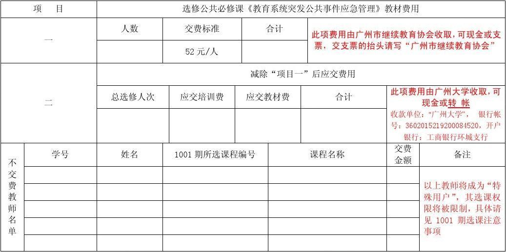广州市中小学教师继续教育1001期学校交费申报表