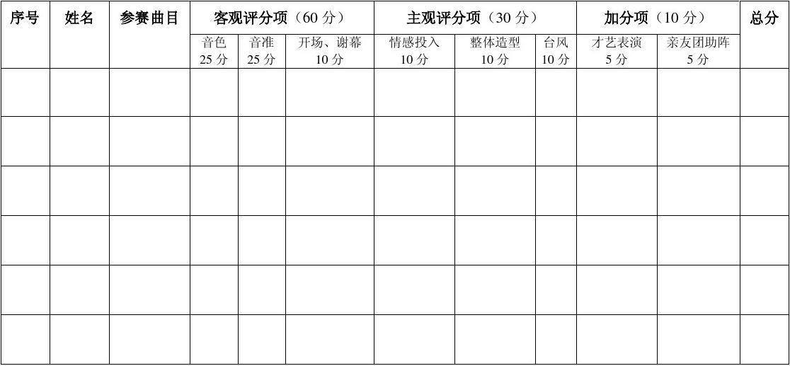 ***会员杯k歌大赛决赛评分表(百分制)图片