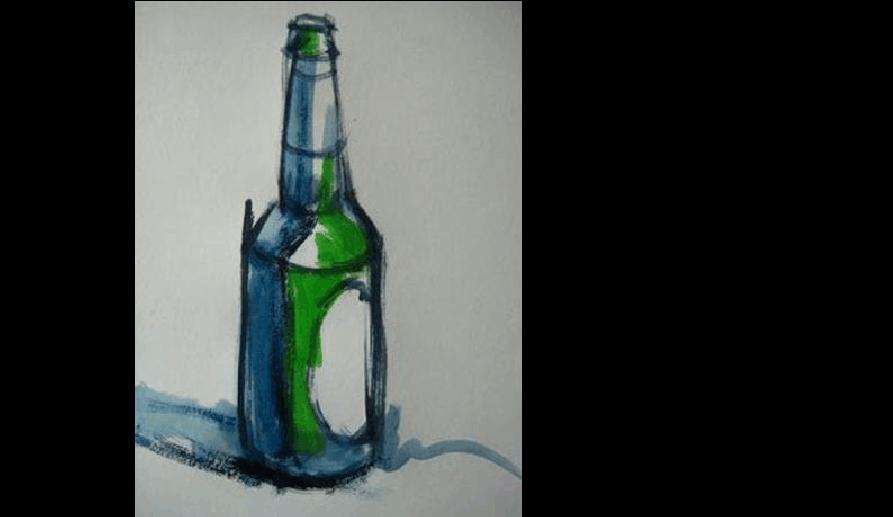 步骤啤酒瓶的水粉还原图文绘画赤铁矿调色磁铁矿步骤与方法图片