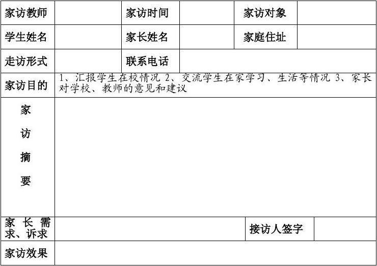 道托镇中心小学教师联系高中家访记录表_wor联家长国际优图片