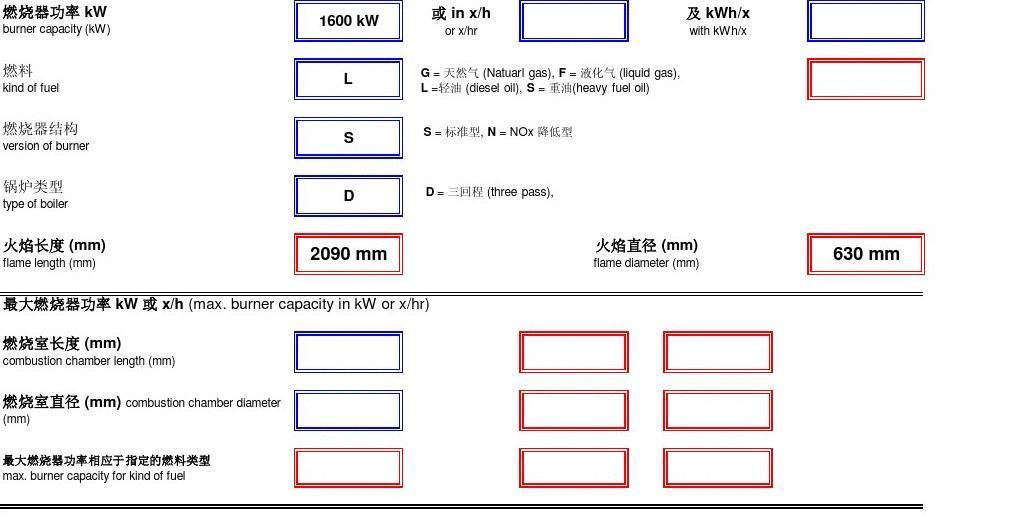 燃烧室尺寸计算表