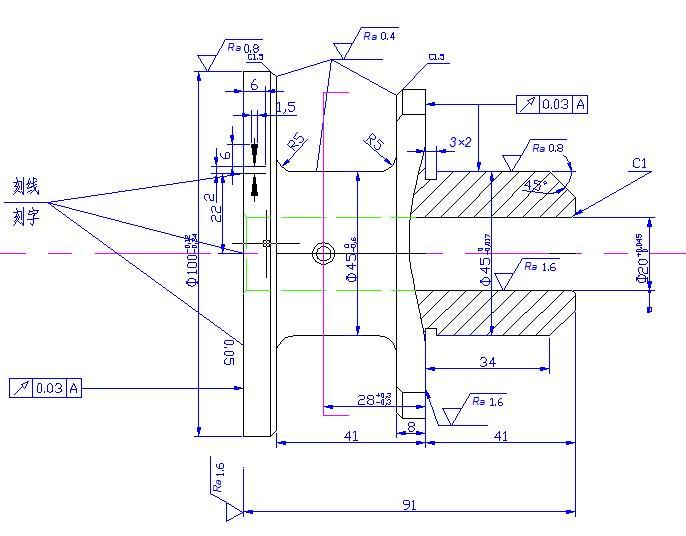 法兰盘设计零件图抄图