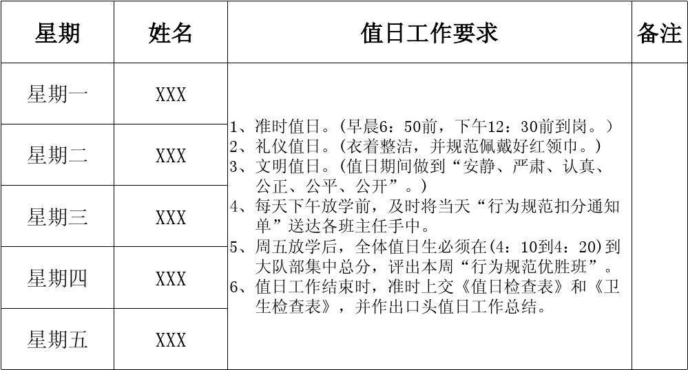 小学值日表_XX小学值日生轮值安排表_word文档在线阅读与下载_文档网