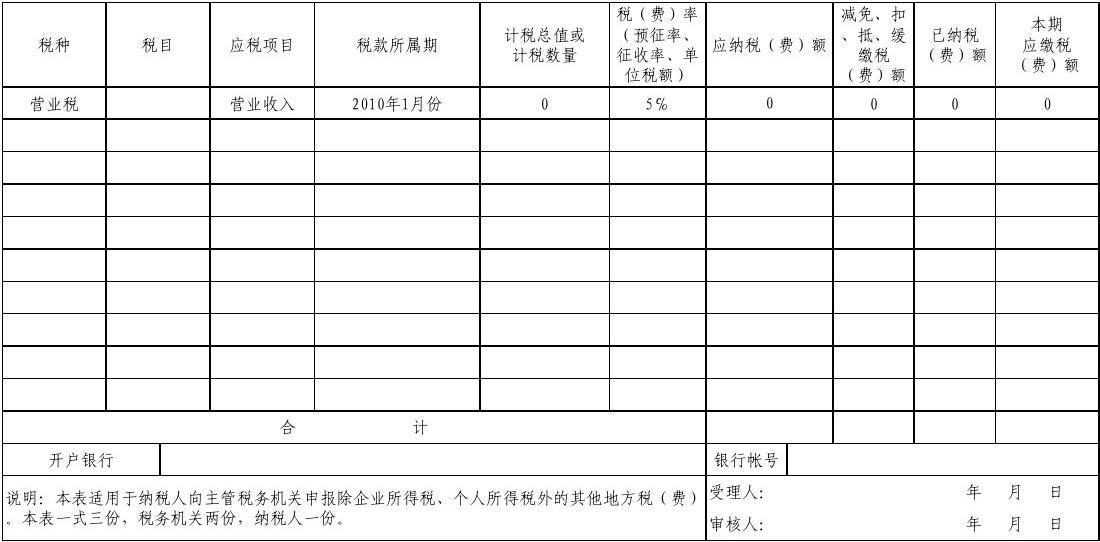 地方税(费)综合纳税申报表