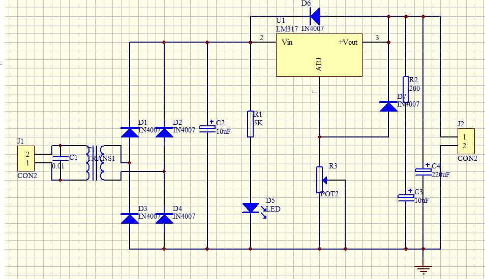 所有分类 工程科技 电子/电路 lm317可调稳压直流电源原理图设计  五图片