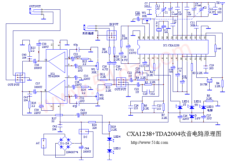 CXA1238与TDA2004收音机电路图