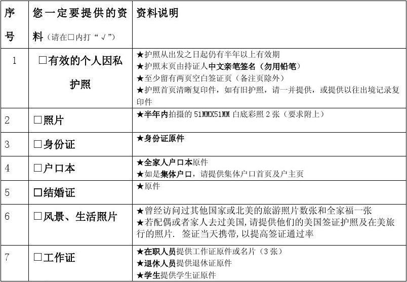 美国签证OCT(首次)办理详情表
