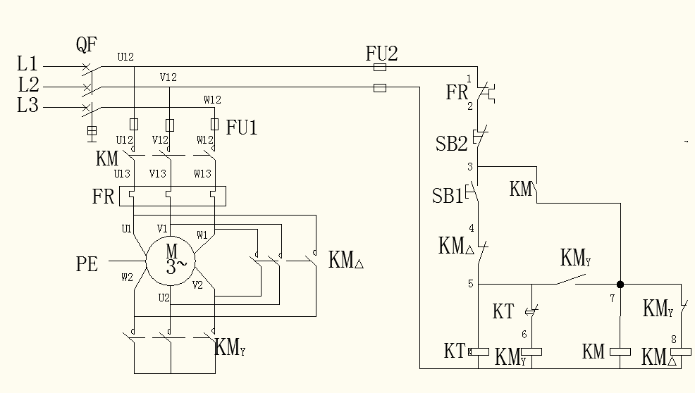 星三角降压启动控制线路原理图图片