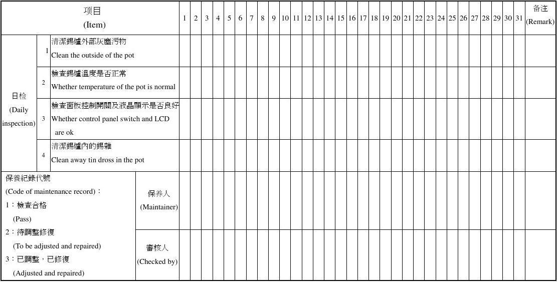E-PR-59小锡炉每日保养记录表