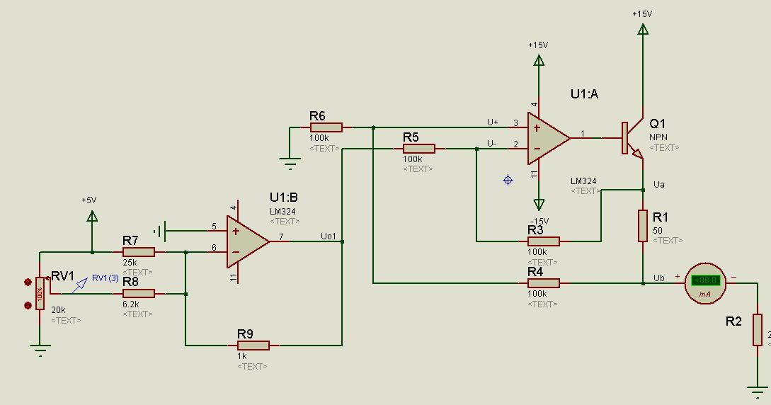 可进行仿真,实现0-5v电压信号输入,转化成4-20ma的电流信号的功能,以