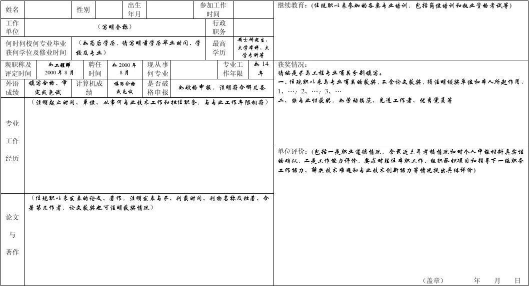申报高级工程师任职资格评审人员情况综合表(第一页)