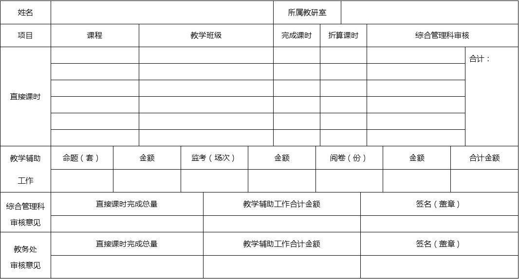 初中教师工作量申报表教学排名镇海图片